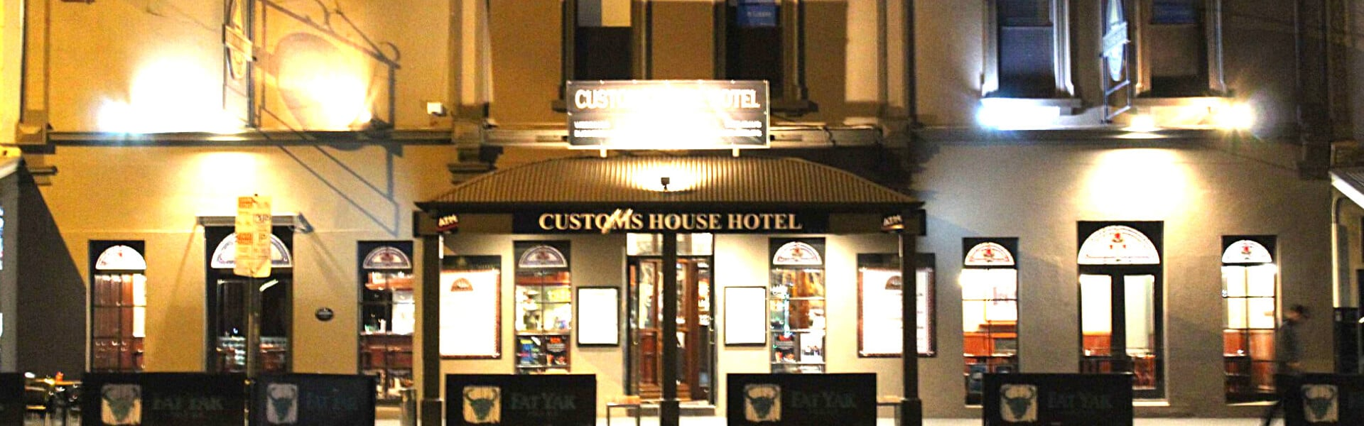 Outside Customs House Hotel evening